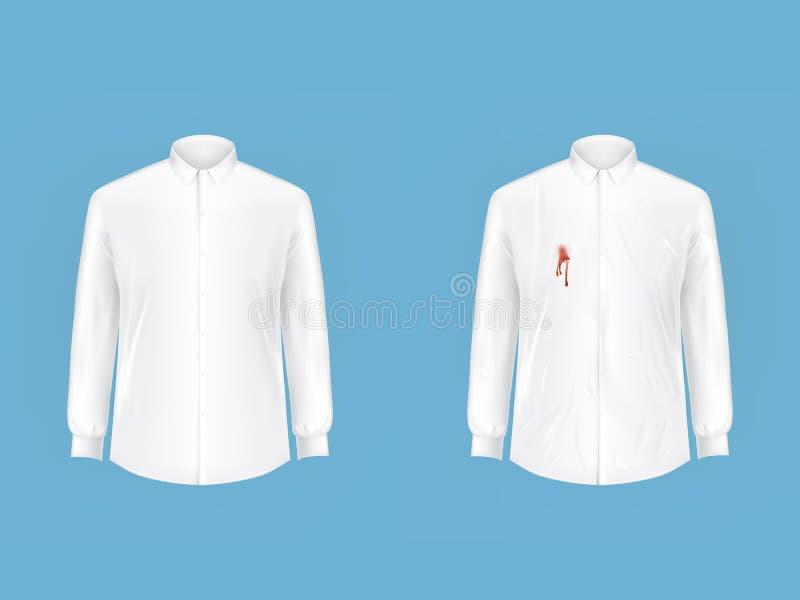 Sauberes und schmutziges Hemd vorher nachdem dem Waschen stock abbildung