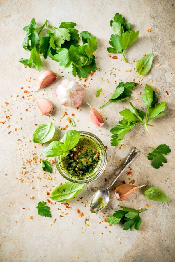 Sauce à Chimichurri d'Argentin photographie stock