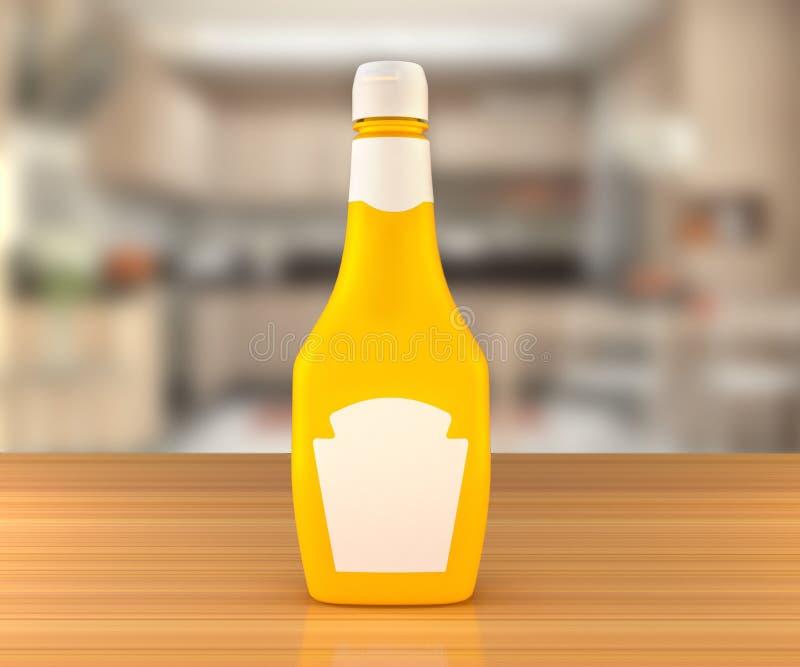 Sauce à moutarde sur la table photographie stock libre de droits