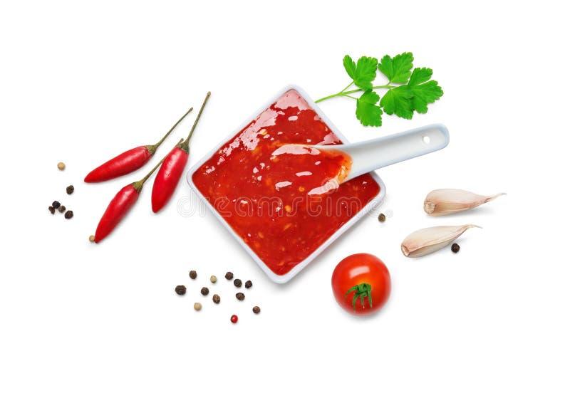 Sauce à s/poivron d'un rouge ardent photographie stock