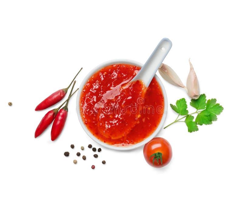 Sauce à s/poivron d'un rouge ardent images stock