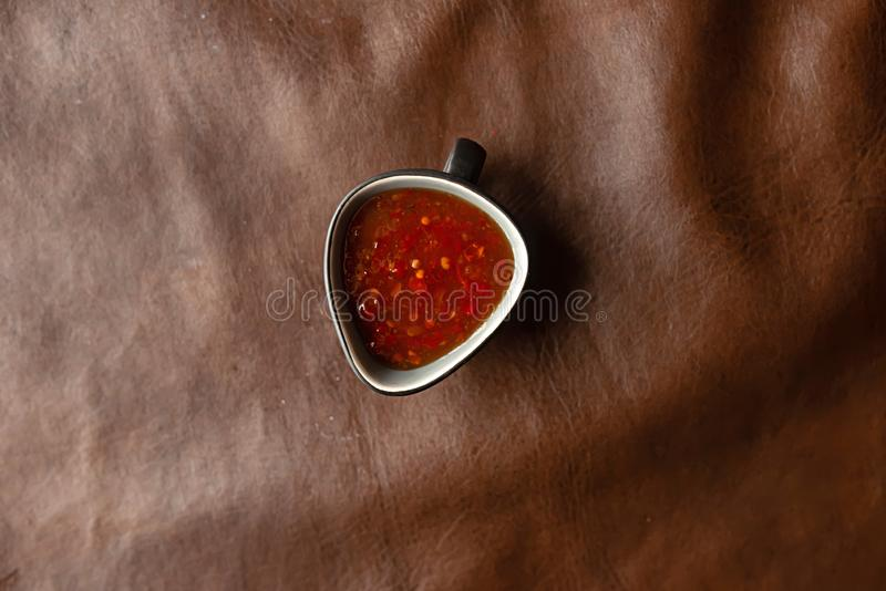 Red Sauce on the table stock photography