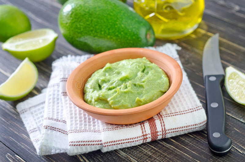 Sauce. From avocado in bowl stock images