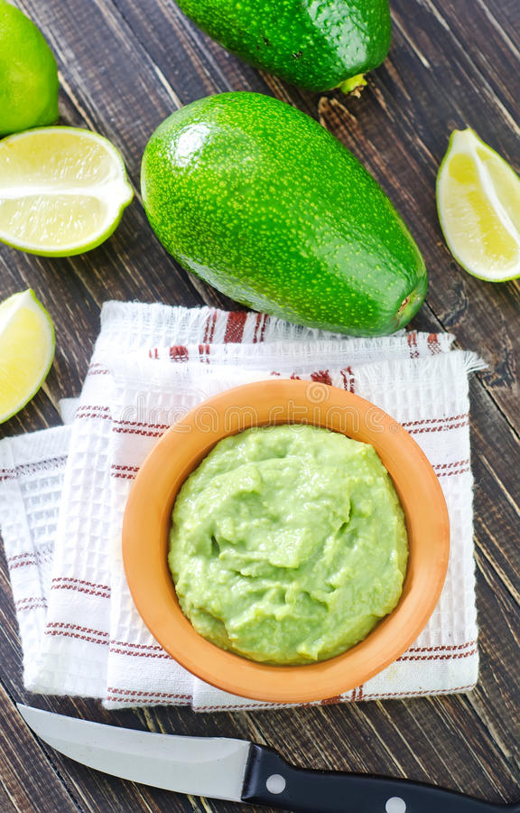 Sauce. From avocado on a table royalty free stock photography