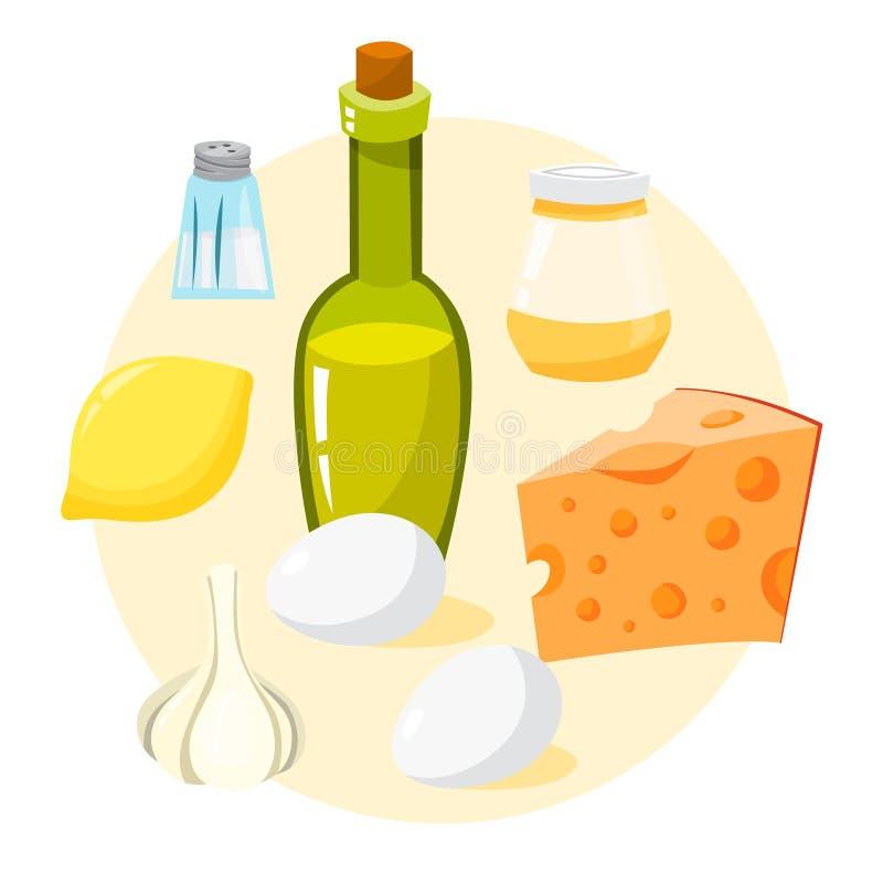 Sauce for caesar salad ingredients. Easy homemade dressing stock illustration
