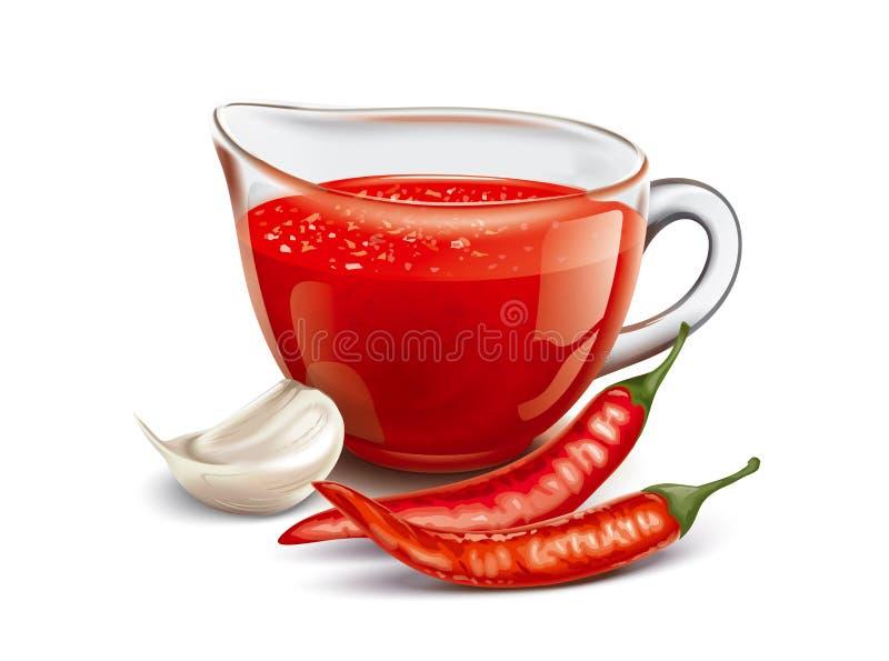 Sauce chaude à tomate illustration stock