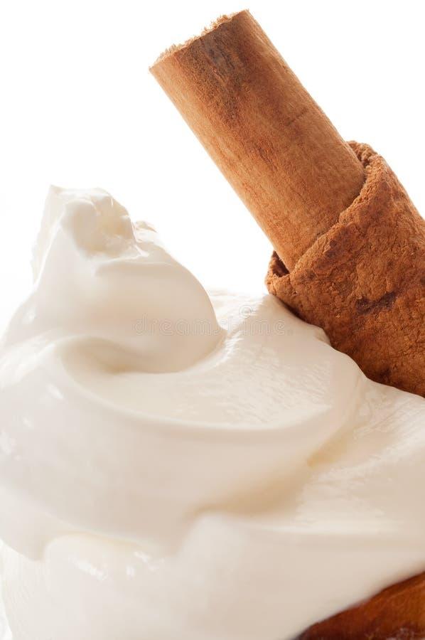 Sauce crème avec de la cannelle photographie stock