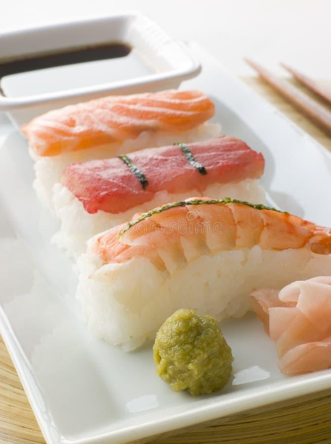 Sauce de soja de Wasabi de sushi de fruits de mer et Sus moulés par main photo libre de droits