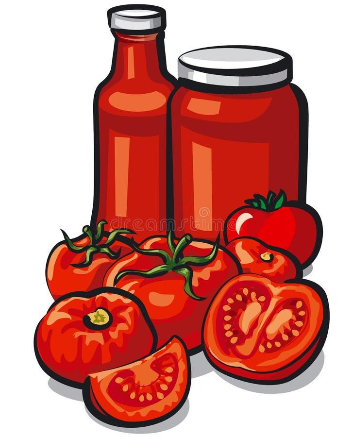 Sauce de tomate et tomate illustration libre de droits