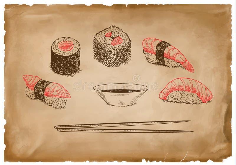 Sauce et sushi rouges sur le vieux papier de grange photos stock