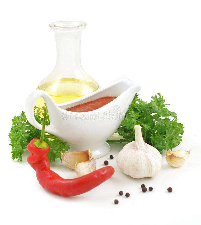 Sauce ingredients. Nice fresh sauce ingredients isolated on white background royalty free stock image