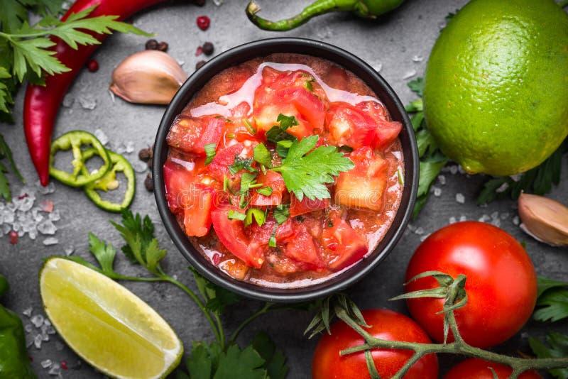 Sauce mexicaine latino-américaine traditionnelle à Salsa photographie stock