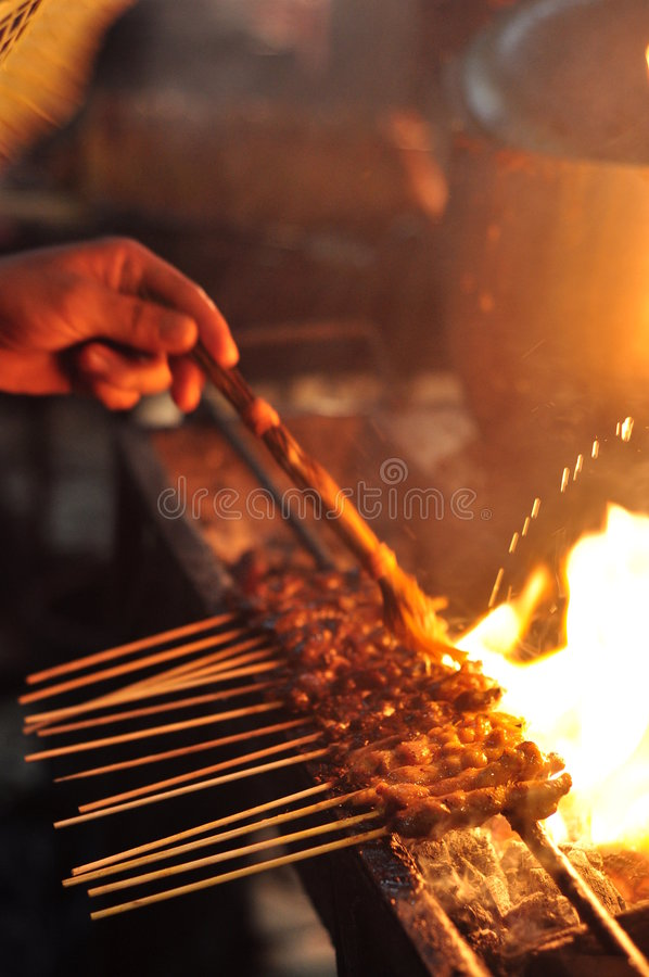 Sauce on Satay royalty free stock images