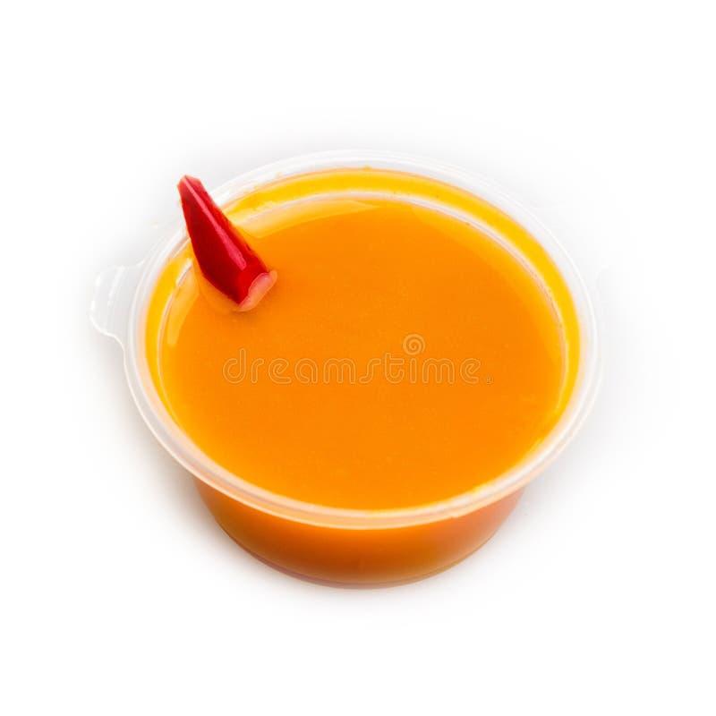 Sauce sur le bouillon des écrevisses et du gingembre photographie stock libre de droits