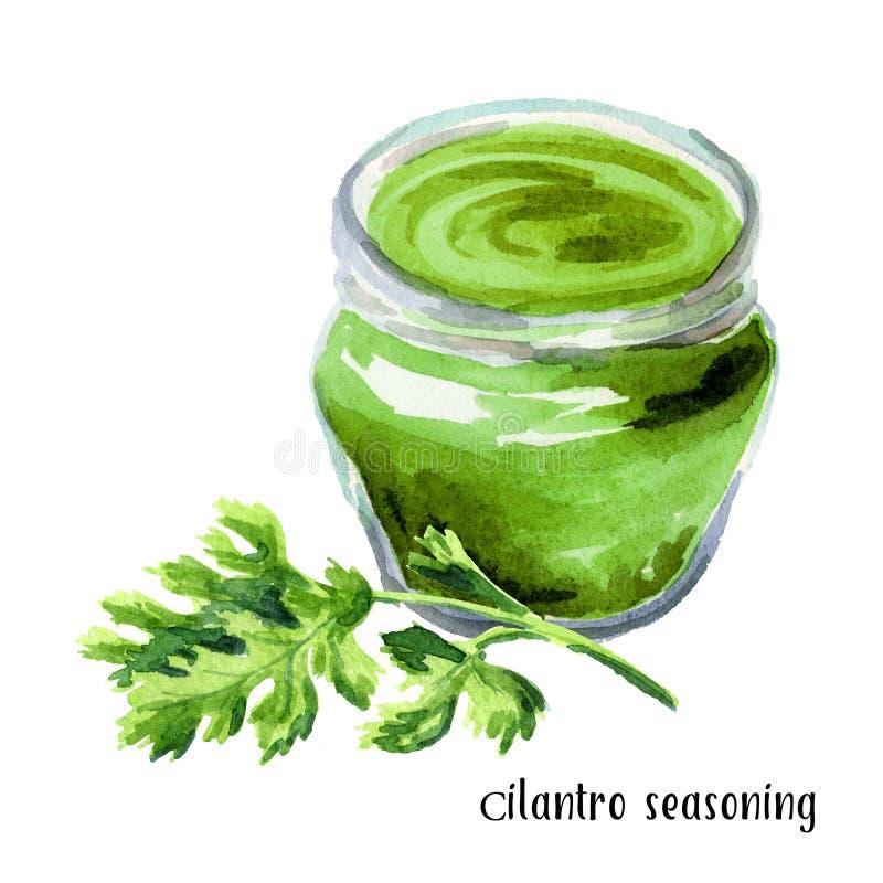 Sauce verte, assaisonnement de cilantro Illustration tirée par la main d'aquarelle, d'isolement sur le fond blanc illustration stock