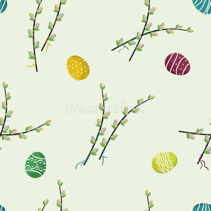 Sauce y huevos de Pascua florecientes stock de ilustración