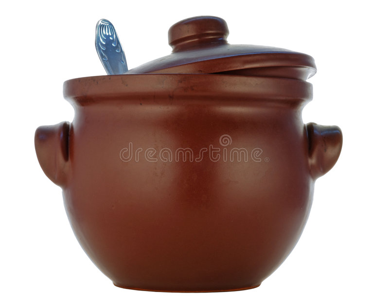 Saucepan de Brown da cerâmica heatproof imagem de stock