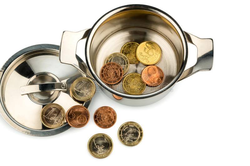Download Saucepan and euro coins stock photo. Image of photo, euro - 28447418