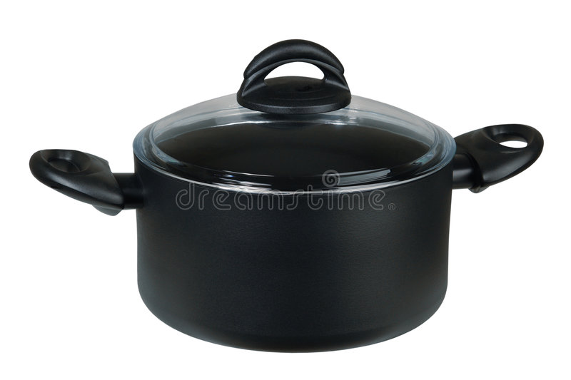 Saucepan with a glass cover stock photos