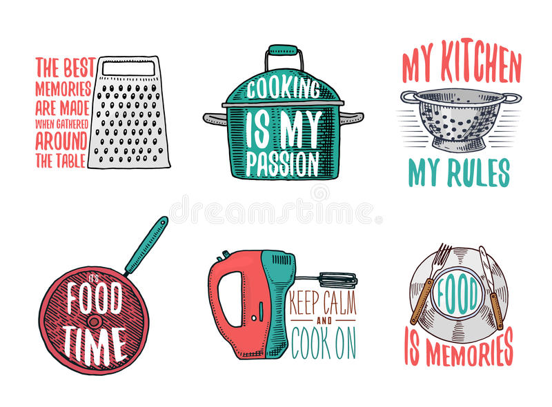 Saucepan and grater, colander and frying pan, mixer and plate. Baking or dirty kitchen utensils, cooking stuff. logo. Emblem or label, engraved hand drawn in royalty free illustration
