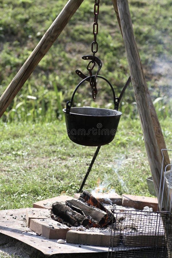 Saucepan Over A Bonfire Royalty Free Stock Photos