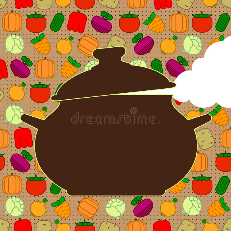 Saucepan on seamless background royalty free illustration