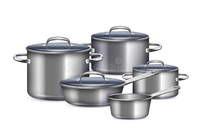 Saucepan Realistic Set stock illustration