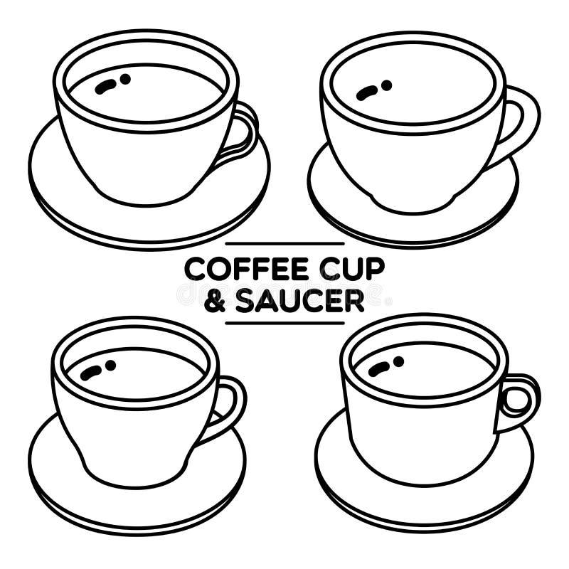 saucer för kaffekopp royaltyfri illustrationer