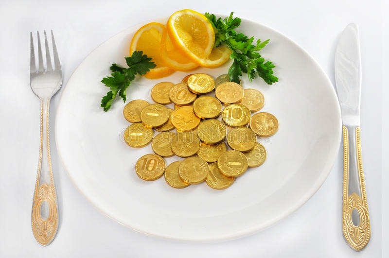 Download Money Coins On White Plate With Fork And Knife, Is Stock Image - Image: 19081821