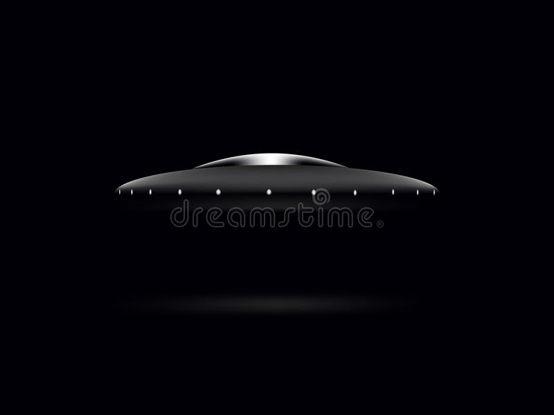 Saucer UFO on a black background stock photos