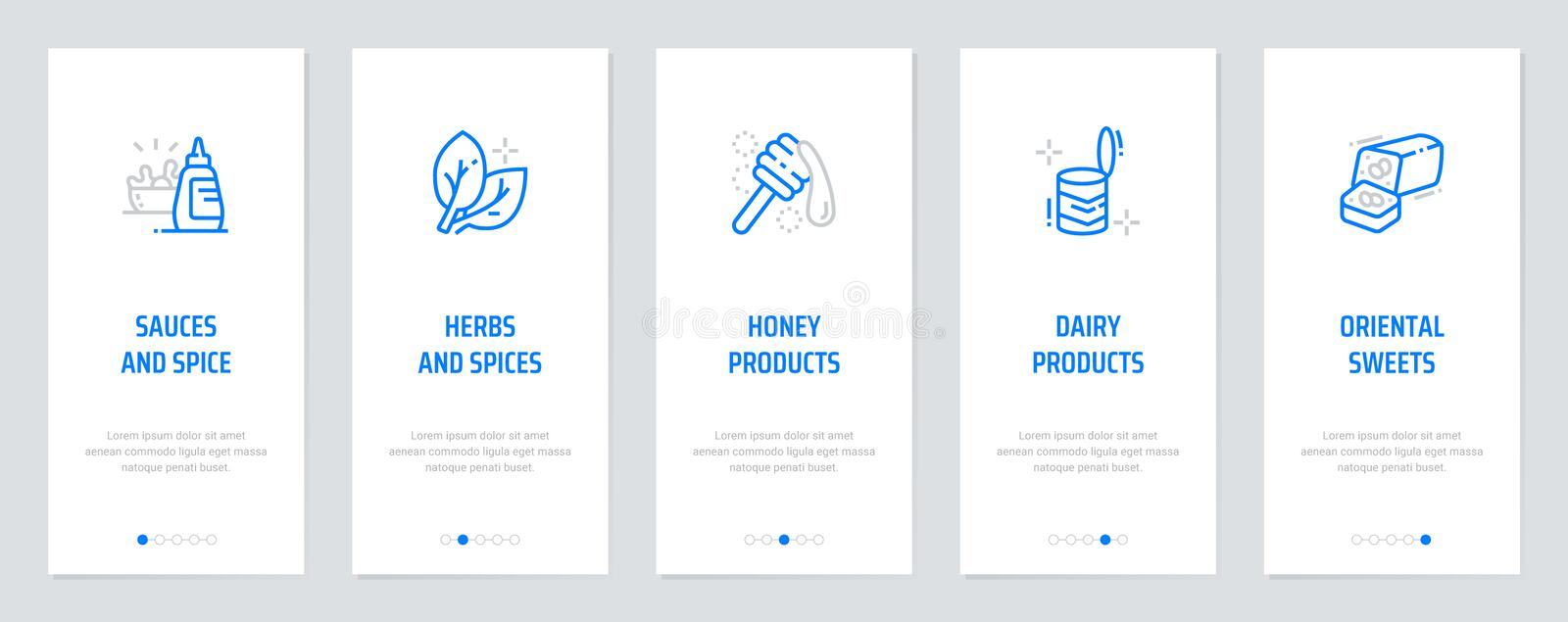 Sauces, Herbs and spices, Honey, Dairy products, Oriental sweets Vertical Cards with strong metaphors. royalty free illustration