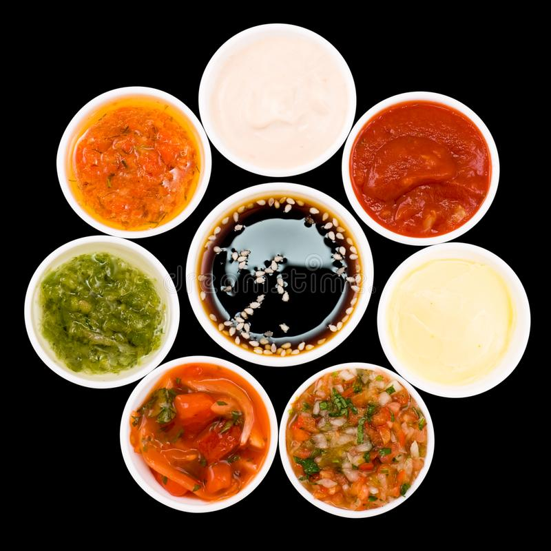 Sauces palette close up top view stock image