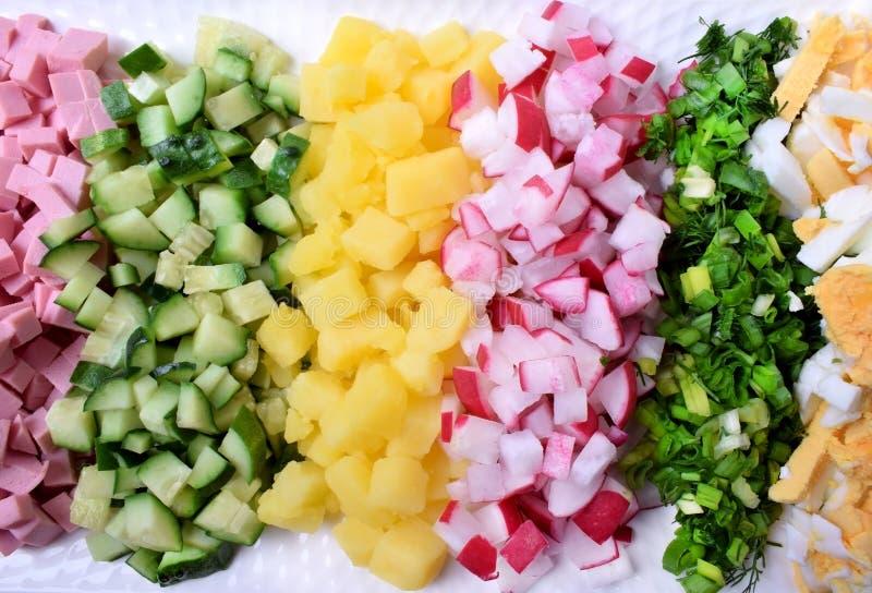 Saucisse, concombre, pomme de terre, radis, verdure, et oeuf bouillis coupé dans de petits morceaux et pondu dans des rangées image stock