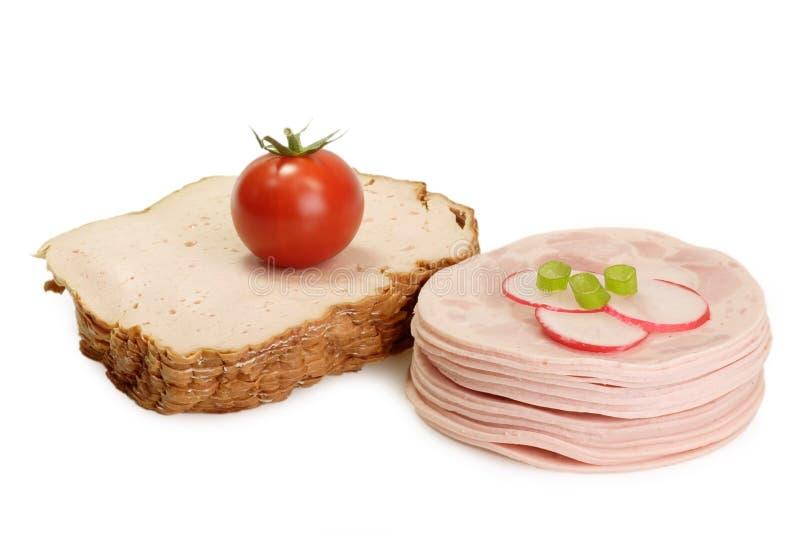 Saucisse coupée en tranches photo libre de droits