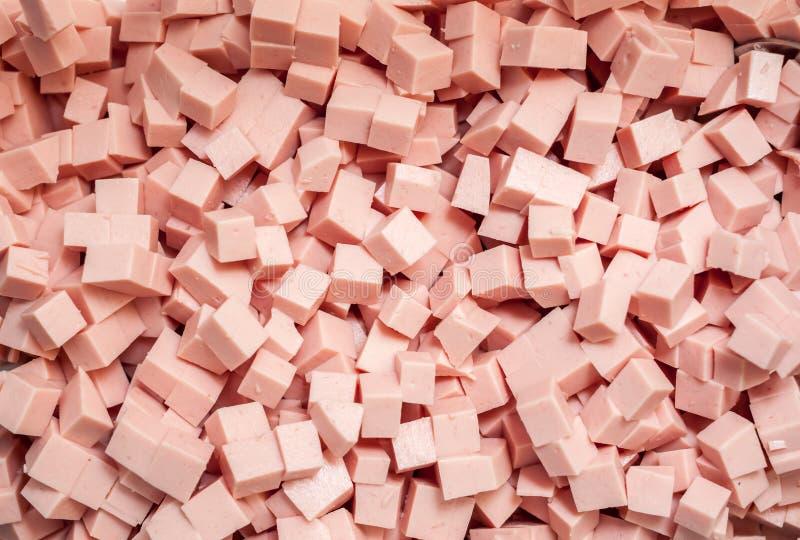 Saucisse coupée par rose pour la salade photographie stock