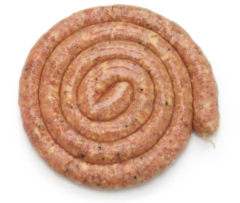 Saucisse crue de Cumberland, saucisse de proc en spirale images stock