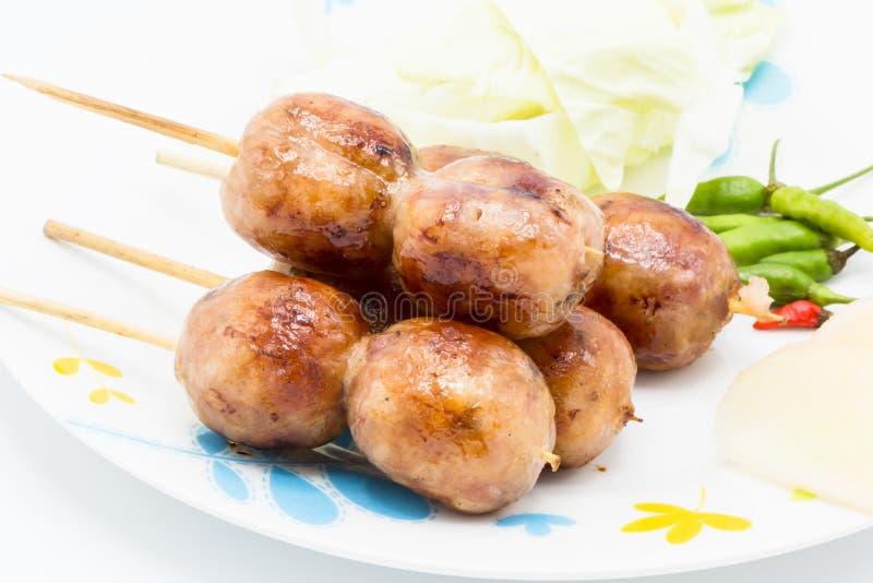 Saucisse de Sai Aua Notrhern Thai Spicy, saucisses grillées images libres de droits