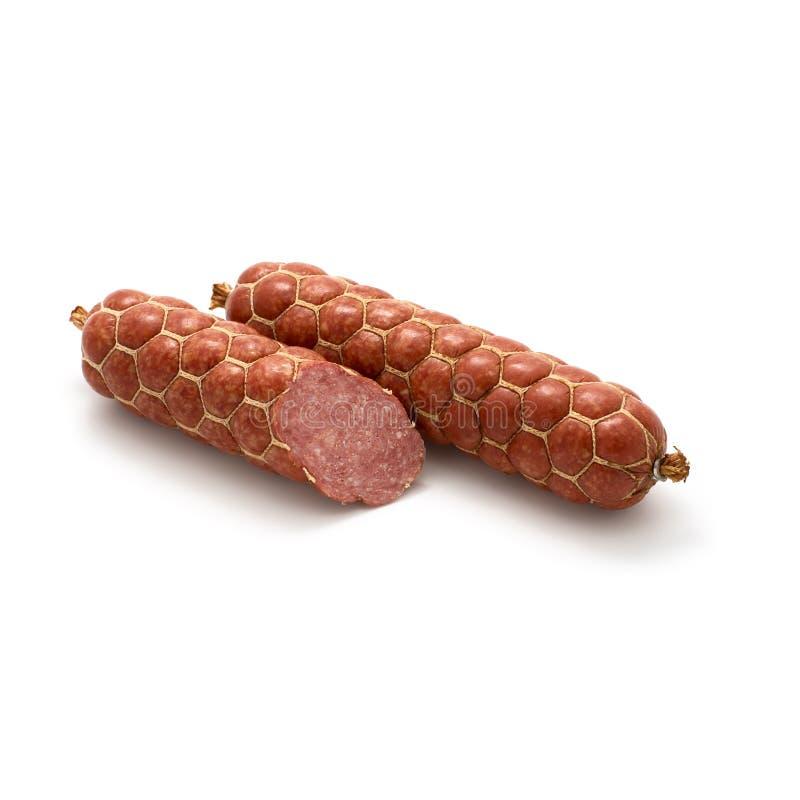 Saucisse fraîche de salami d'isolement sur le fond blanc image libre de droits