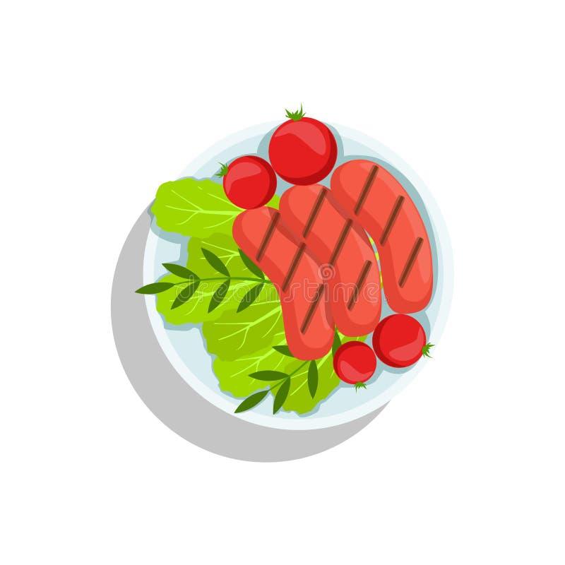 Saucisses avec la tomate et la salade, illustration de plat de nourriture de gril d'Oktoberfest illustration stock