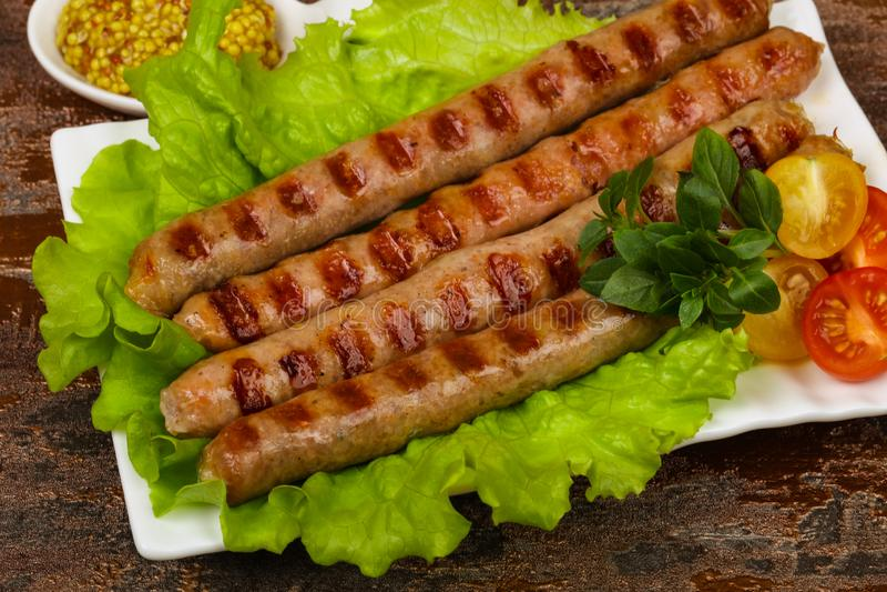 Saucisses de proc grill?es photo stock