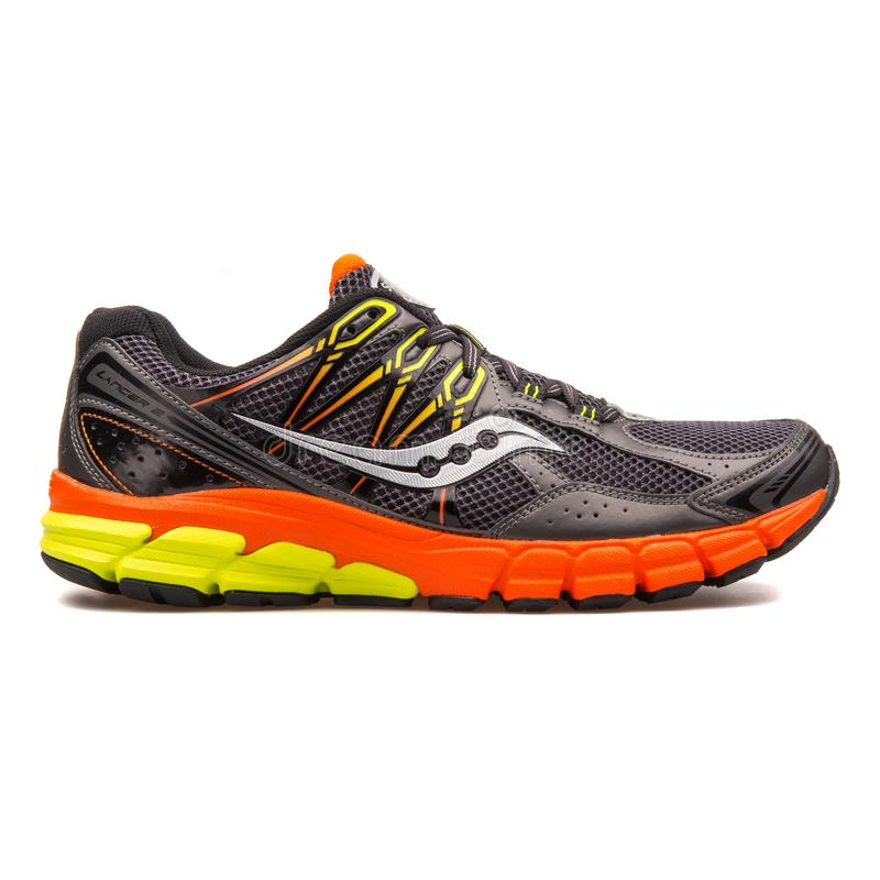 Saucony Progrid Lancer 2 grey and orange sneaker. VIENNA, AUSTRIA - AUGUST 10, 2017: Saucony Progrid Lancer 2 grey and orange sneaker on white background royalty free stock photography