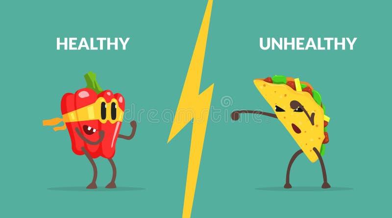 Saudável contra o molde insalubre da bandeira do alimento, caráter forte que luta com Tako, alimento saudável da pimenta contra o ilustração royalty free