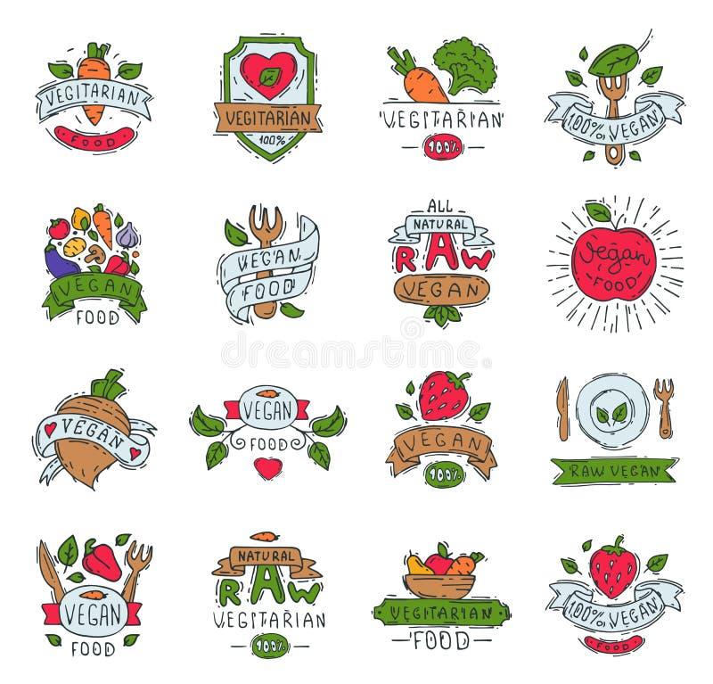 Saudável tirado do crachá do alimento natural do vegetariano dos produtos agrícolas do eco do vegetariano do símbolo do logotipo  ilustração stock