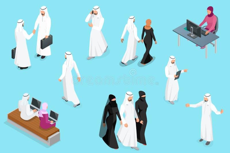 Saudí Businessmens de Isometirc Juego de caracteres árabe del hombre y de la mujer Hombre de negocios musulmán con vector aislado ilustración del vector