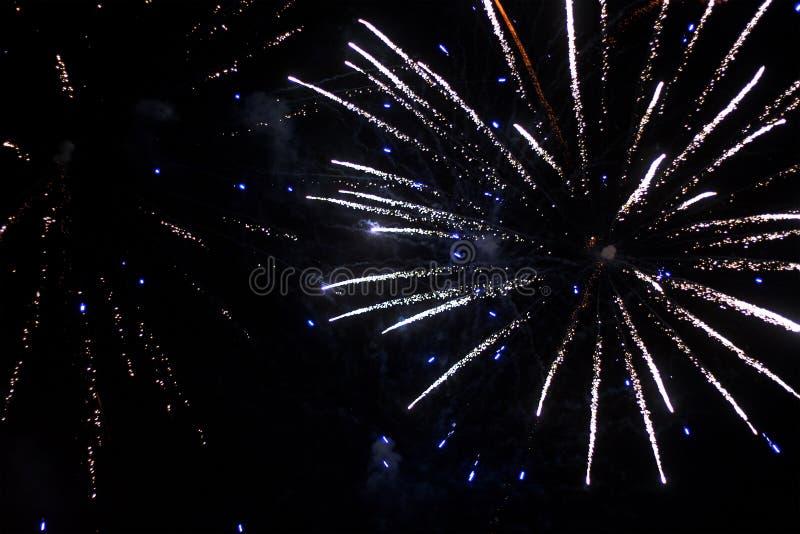 Saudação bonita e fogos-de-artifício com o fundo preto do céu O fundo abstrato do feriado com os vários fogos-de-artifício das co imagem de stock royalty free