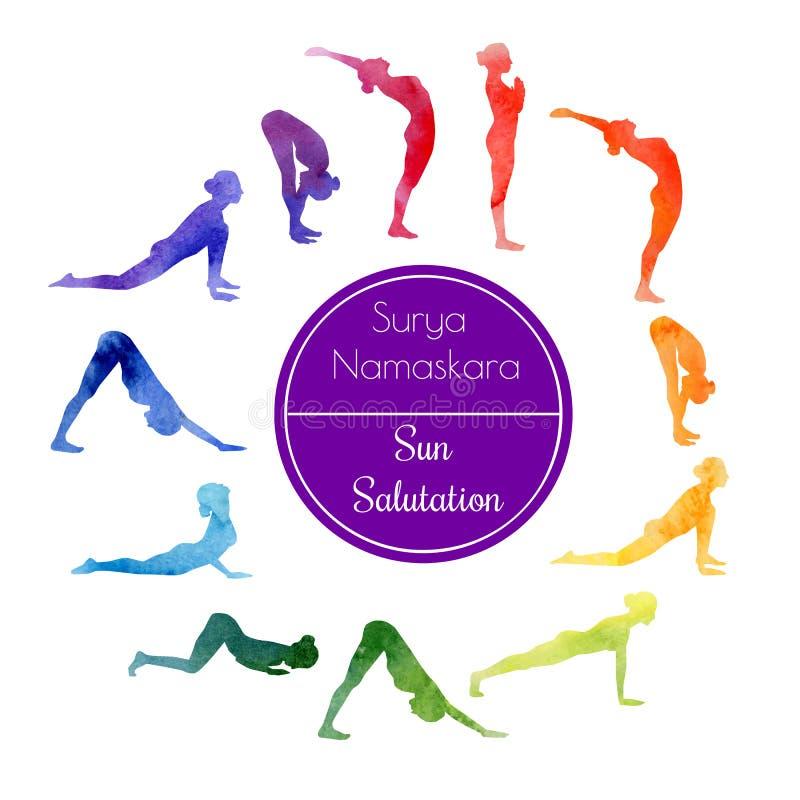 Saudação de Sun da ioga ilustração stock
