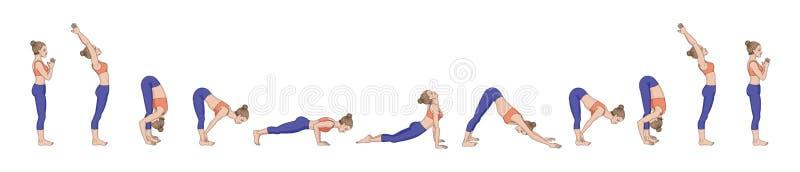 Saudação de Sun Namaskara A de Surya Sequência da ioga ilustração royalty free