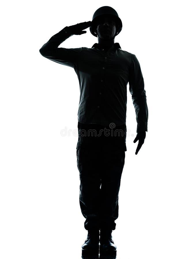 Saudação do homem do soldado do exército imagem de stock