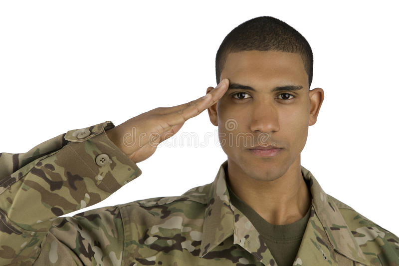 Saudação do soldado do americano africano fotografia de stock
