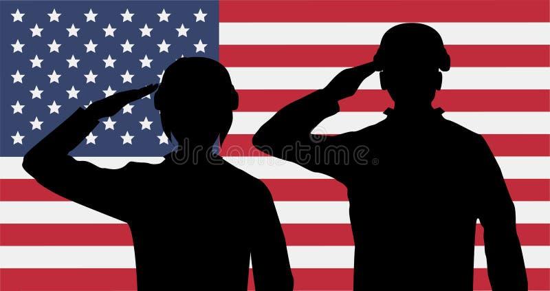 Saudação dos soldados americanos da silhueta na bandeira dos EUA ilustração stock